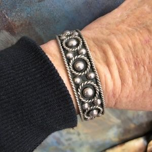 STERLING SILVER ORB CUFF BRACELET TAXCO MEXICO